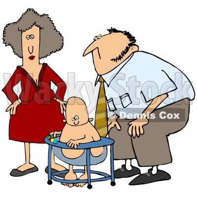 Royalty-Free (RF) Clipart Illustration of a Mom And Dad Watching Their Baby Play In A Bouncer © Dennis Cox #59814