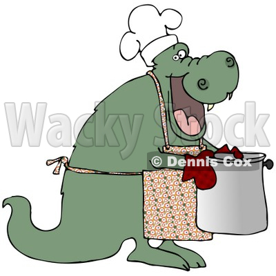 Royalty-Free (RF) Clipart Illustration of a Green Dragon Wearing An Apron And Carrying A Pot © djart #59816