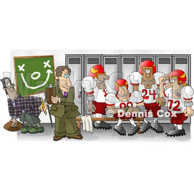 Football Coach Standing in the Locker Room with His Players Clipart Picture © djart #5988