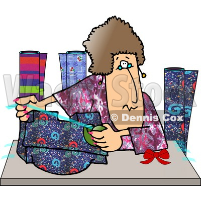 Woman Gift Wrapping Presents at a Shopping Center Clipart Picture © djart #5993