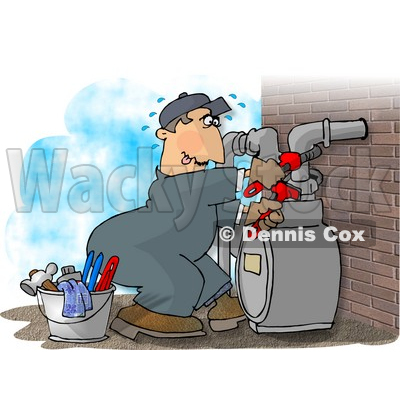 Male Worker Resetting a Residential Gas Meter Clipart Picture © djart #6002