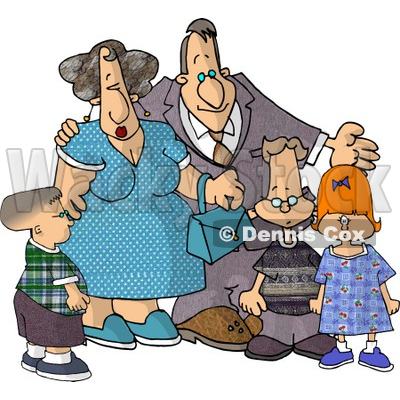 Grandparents Standing with Their Grandchildren Clipart Picture © djart #6003