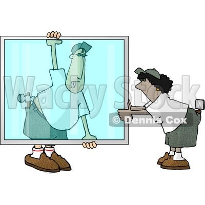 Apprentice Glazier Carrying a Big Glass Window Clipart Picture ...
