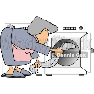 Housewife Putting Wet Clothes Into a Dryer Clipart Picture © djart #6019