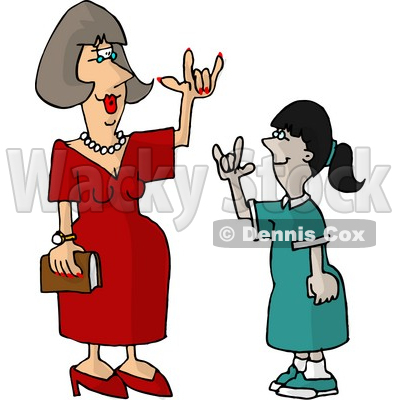Hearing Impaired Teacher Using Sign Language with a Student Clipart Picture © djart #6027