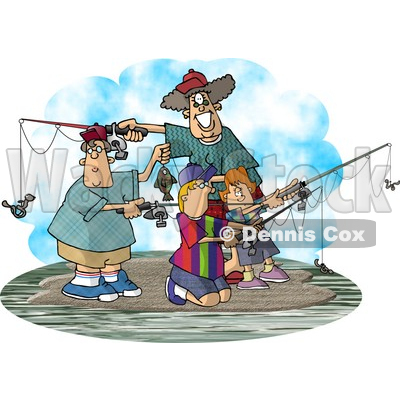 clipart fishing. Family Fishing Together On an