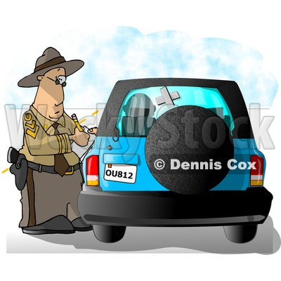 Californian Highway Patrolman Writing a Ticket to a Speeding Motorist Clipart Picture © djart #6044