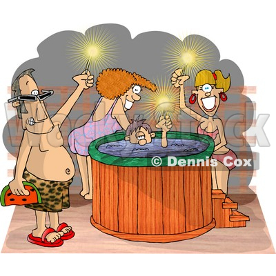 Happy Men and Women at a Hot Tub Party Clipart Picture © djart #6050