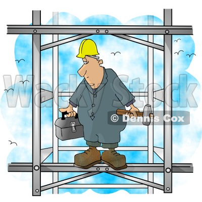 Male Construction Worker Putting Together the Iron Structure of a Building Clipart Picture © djart #6055