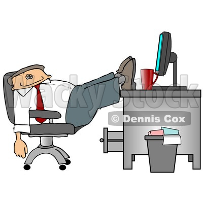 Exhausted Businessman Resting Feet on Computer Desk Clipart Picture © djart #6067