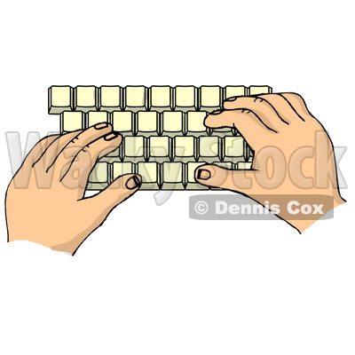 Computer Keyboard Diagram. Computer Skills Hands Typing