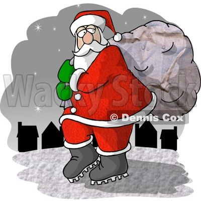 Santa Claus Carrying Toy Bag to Town Clipart Picture © djart #6086