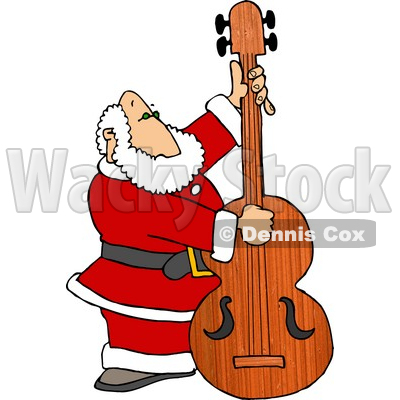Santa Claus Playing Christmas Music on a Double Bass Clipart Picture © djart #6088