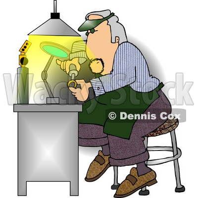 Male Jeweller Fixing Gold Wedding Ring Clipart Picture by Dennis Cox