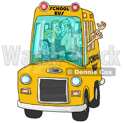 Bus Driver Man Driving a School Bus Full of Elementary School Students Clipart © djart #6110