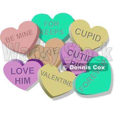 Clipart Illustration of Valentine Candy Lover Hearts Clipart © Dennis Cox #6113
