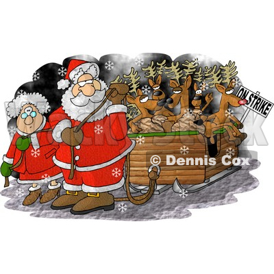 Santa Claus and Mrs Claus Pulling Toys and Reindeer Santa's Sleigh Because the Reindeer are on Strike on Christmas Clipart © djart #6116