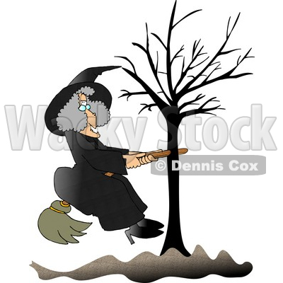 Warty Witch in Black, Sitting on a Broom That is Stuck in a Bare Tree Clipart © djart #6123