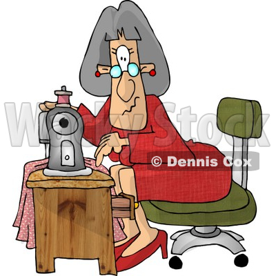 Elderly Seamstress Woman Sewing a Dress Clipart Picture © djart #6149