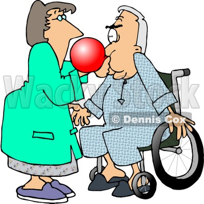 Female Nurse Giving a Male Senior Patient in a Wheelchair a Test With a Respiratory Therapy Balloon Clipart Picture © djart #6154