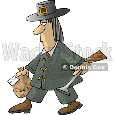 Male Pilgrim Carrying a Blunderbuss and a Grade A Frozen Turkey For Thanksgiving Dinner Clipart Picture © djart #6159