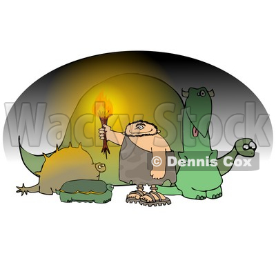 Caveman Holding a Torch in a Cave Full of Dinosaurs Clipart Picture © djart #6169