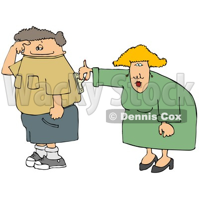 Wife Turning Her Husband's Switch On Clipart Picture © djart #6180