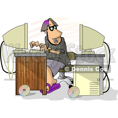 Male Programmer Trying to Hack Into Computer Clipart Picture © djart #6183