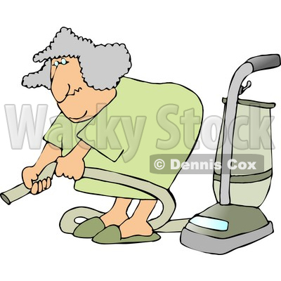 Senior Woman Adjusting an Attachment on a Vacuum Clipart Picture © djart #6198