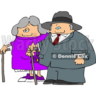 Old Man and Old Woman Walking Side by Side While Using Canes Clipart Picture © djart #6200