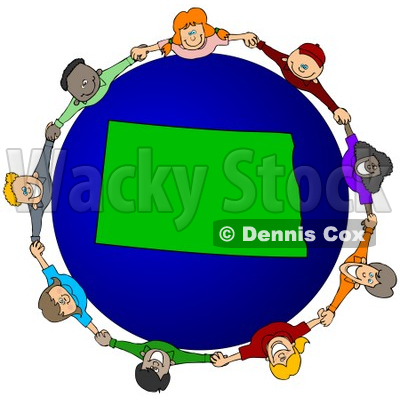 Royalty-Free (RF) Clipart Illustration of a Circle Of Children Holding Hands Around A North Dakota Globe © djart #62082