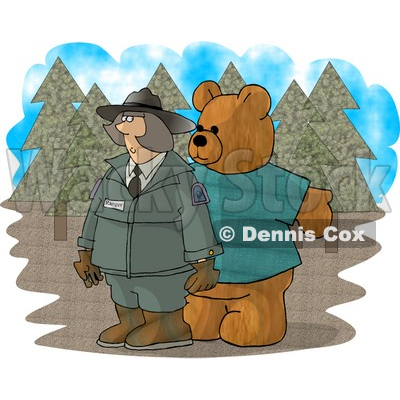 Person Wearing a Bear Costume While Trying to Scare a Female Forest Ranger Clipart Picture © djart #6211