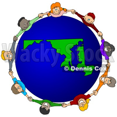 Royalty-Free (RF) Clipart Illustration of a Circle Of Children Holding Hands Around A Maryland Globe © djart #62138
