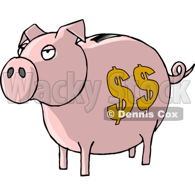 Pink Piggy Bank with Dollar Signs Clipart Picture © Dennis Cox #6215