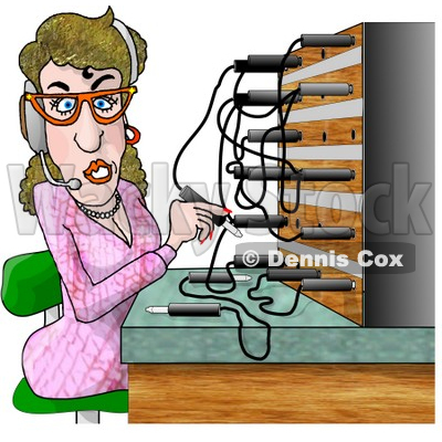 Female Telephone Operator Adjusting Lines Clipart Picture © djart #6218
