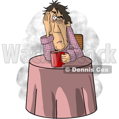 Man Just Waking Up, In Need of a Hot Cup of Coffee Clipart Picture © djart #6219