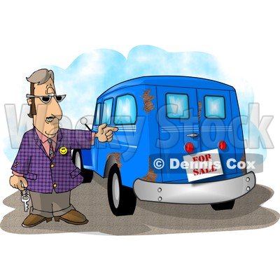 Car Salesman Trying to Sell an Old Rusty Vehicle Clipart Picture © djart #6222
