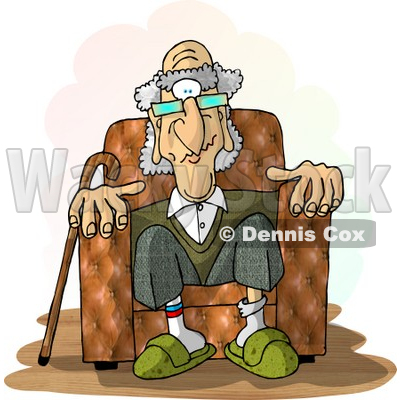 Old Man Sitting In a Recliner Chair Clipart Picture © djart #6229