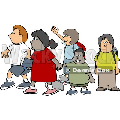 Group of School Children and a Little Dog Crossing a Street Clipart Picture © djart #6238