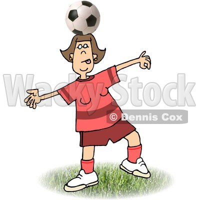 Girl Balancing a Soccer Ball on Top of Her Head Clipart Picture © djart #6248