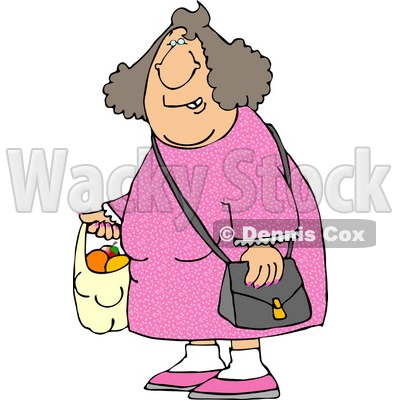 Woman Carrying a Plastic Bag Full of Fruit Clipart Picture © djart #6249