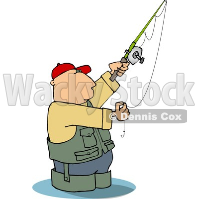 Man Wading in Water While Fishing Clipart Picture © djart #6265