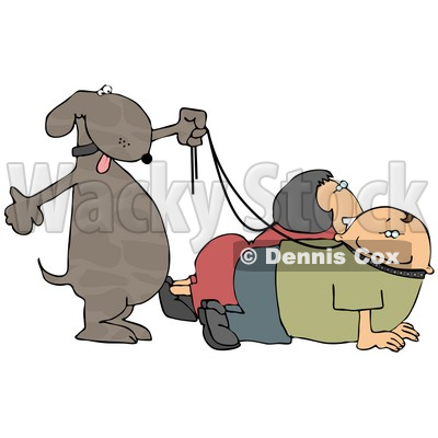 Happy Dog Walking His Owners on Leashes Clipart Picture © djart #6272