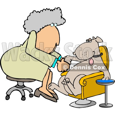 Female Dog Groomer Giving a Pampered Pooch a Pedicure Clipart Picture © djart #6276