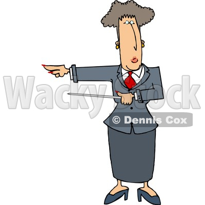 Executive Woman Pointing a Pointer Stick Towards Her Right Clipart Picture © djart #6285