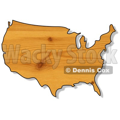 Royalty-Free (RF) Clipart Illustration of a Pine Wood Textured USA Map © Dennis Cox #62936