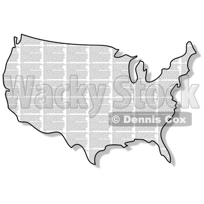 Royalty-Free (RF) Clipart Illustration of a News Print USA Map © Dennis Cox #62943