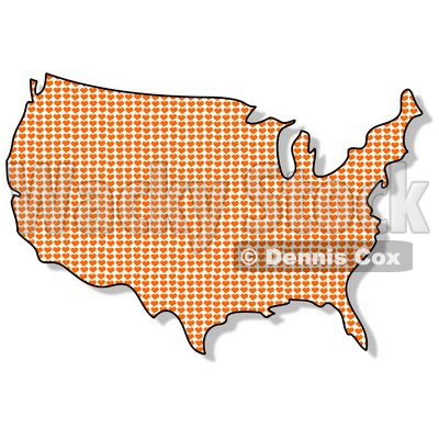 Royalty-Free (RF) Clipart Illustration of a Heart Patterned USA Map © djart #62949