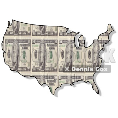 Royalty-Free (RF) Clipart Illustration of a USA Map With a Ten Dollar Bill Pattern © djart #62955