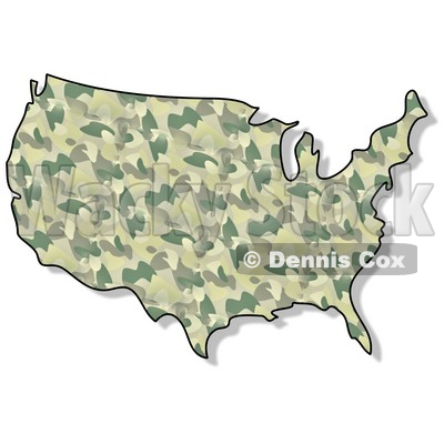 Royalty-Free (RF) Clipart Illustration of a Green Camouflage USA Map © Dennis Cox #62956